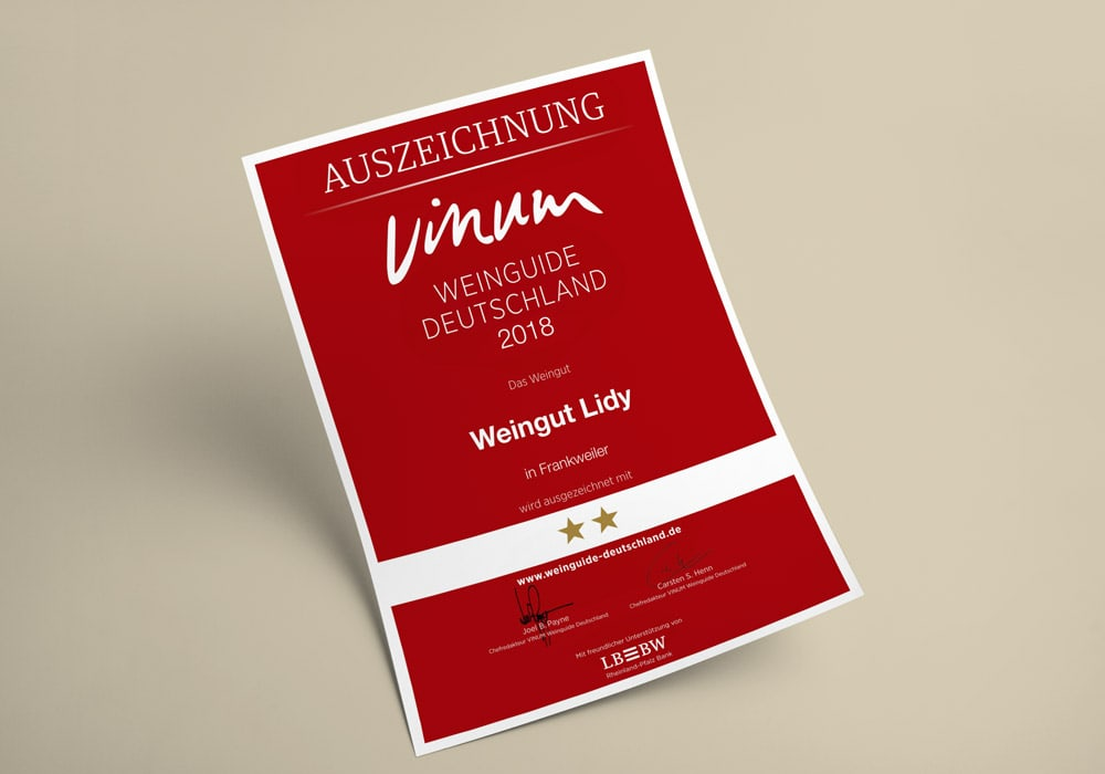 Urkunde: Vinum Weinguide 2018